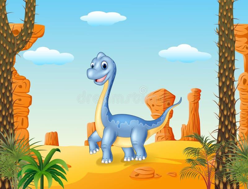 Het leuke dinosaurus stellen met de woestijnachtergrond vector illustratie