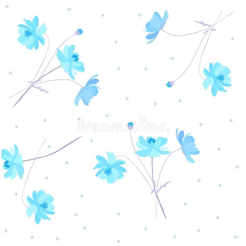 Het leuke ditsy bloemenpatroon met zonnige blauwe abstracte die kosmos en vergeet me niet bloemen, op witte achtergrond worden ge vector illustratie