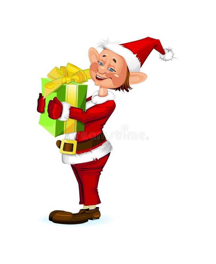 Het leuke elf die van Kerstmis een huidige doos houden royalty-vrije illustratie