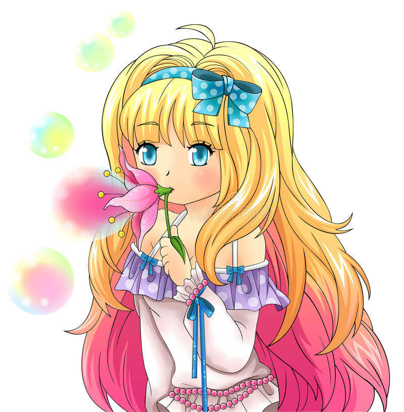 Het leuke fantasiemeisje blaast bellen van een bloem, ontwerp in Ja royalty-vrije illustratie