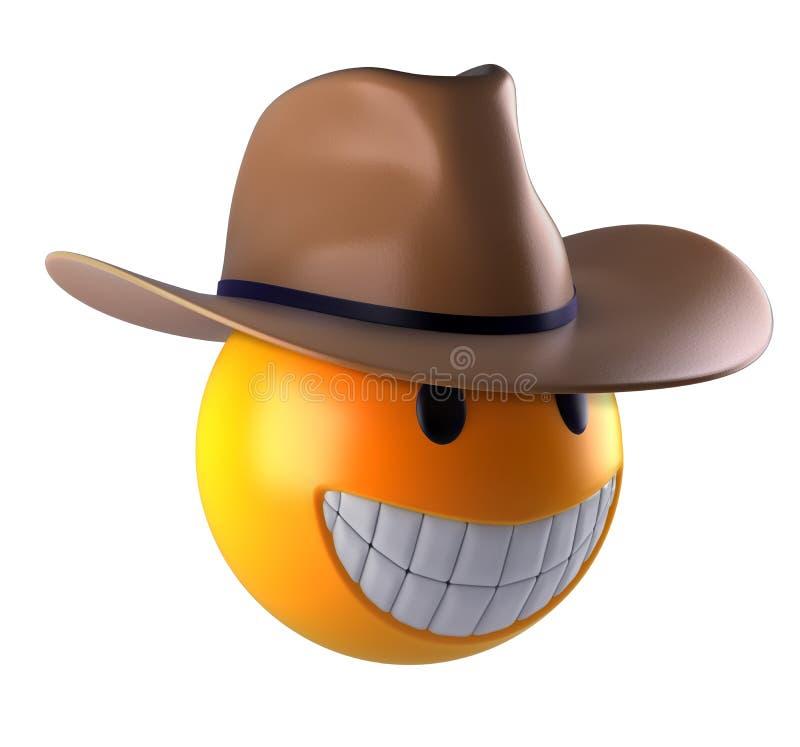 Het leuke gebied van Glimlachemoji met cowboyhoed royalty-vrije illustratie
