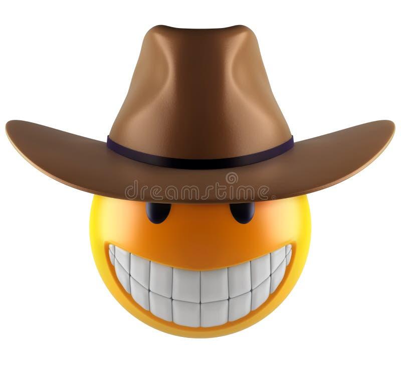 Het leuke gebied van Glimlachemoji met cowboyhoed stock illustratie