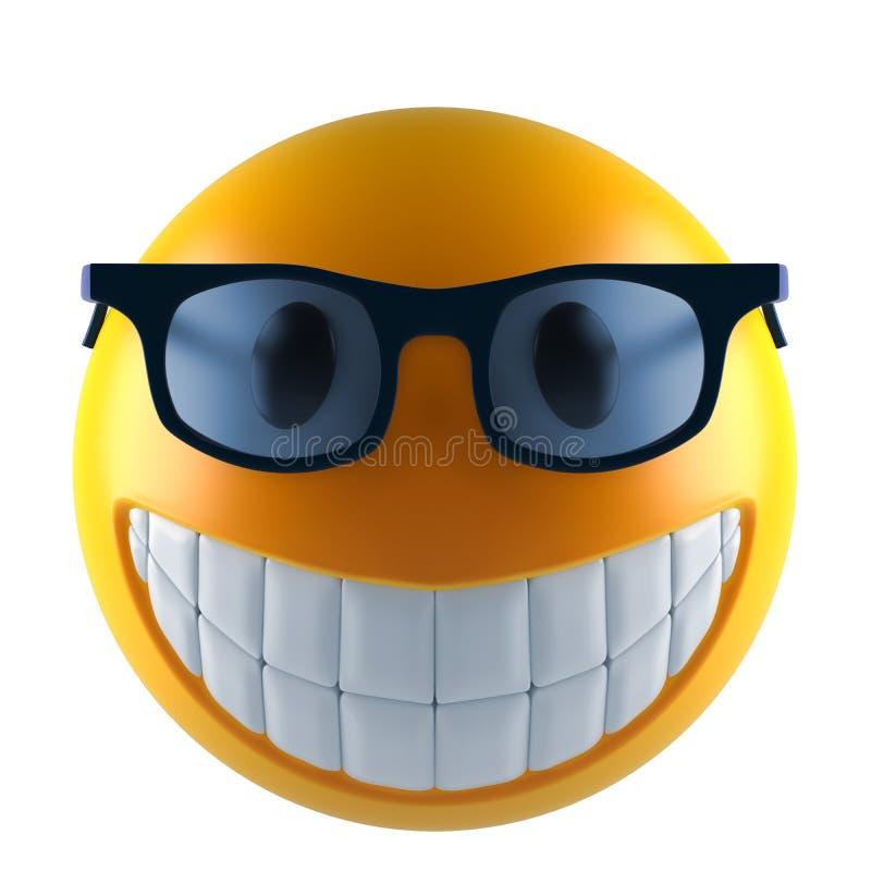 Het leuke gebied van glimlachemoji met glazen royalty-vrije illustratie
