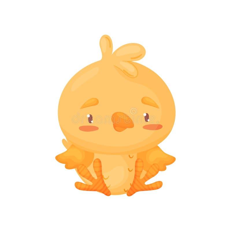 Het leuke gele kuiken zit Vector illustratie op witte achtergrond stock illustratie