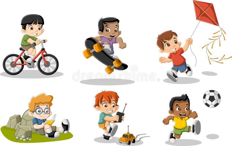 Het leuke gelukkige beeldverhaaljongens spelen vector illustratie