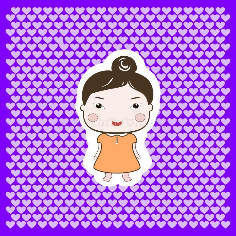 Het leuke Gelukkige Meisje van de Beeldverhaal Foxy Baby stock illustratie