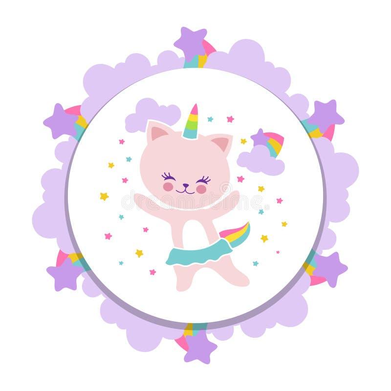 Het leuke gelukkige ontwerp van de kattenbanner Beeldverhaalkatje met sterren en regenboog vector illustratie