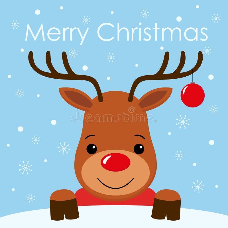 Het leuke gezicht van beeldverhaalherten met van achtergrond hoorn Vrolijk Kerstmis kaart Vlak ontwerp stock illustratie
