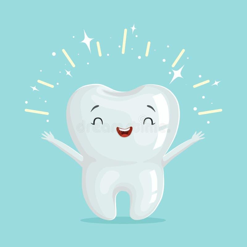 Het leuke gezonde glanzende karakter van de beeldverhaaltand, van het de tandheelkundeconcept van kinderen de vectorillustratie vector illustratie