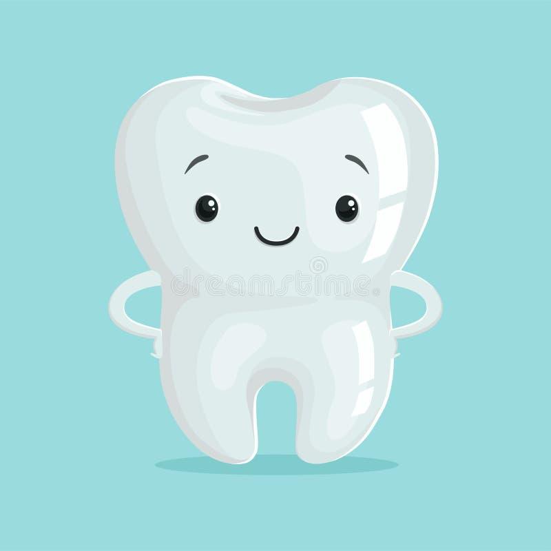 Het leuke gezonde witte karakter van de beeldverhaaltand, van het de tandheelkundeconcept van kinderen de vectorillustratie vector illustratie