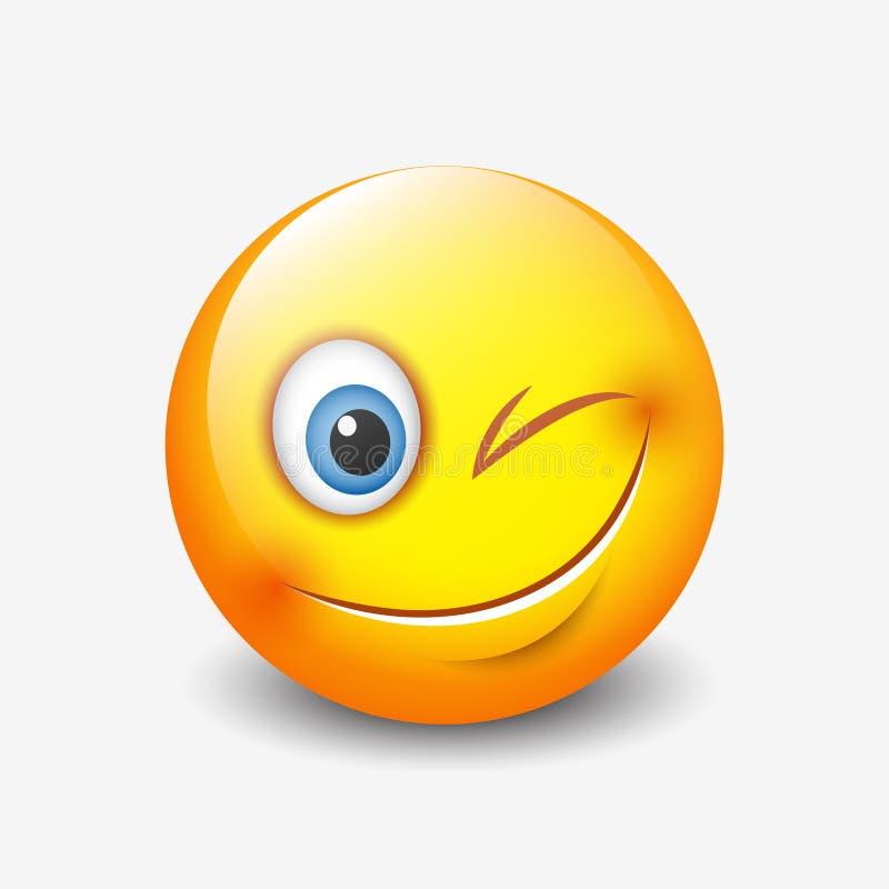 Het leuke glimlachen en het knipogen emoticon, emoji, smiley - vectorillustratie royalty-vrije illustratie
