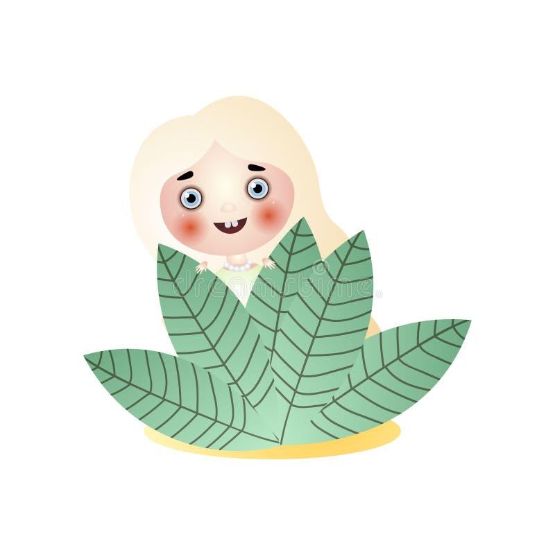 Het leuke het glimlachen verblijf van het de feemeisje van het blondehaar onder bladeren royalty-vrije illustratie