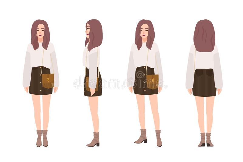 Het leuke glimlachende meisje kleedde zich in in vrijetijdskleding Vrij jonge vrouw die verbindingsdraad en minirok dragen Modieu royalty-vrije illustratie