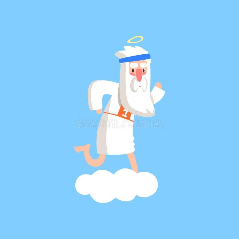 Het leuke godskarakter bevindende voorbereidingen treffen voor een marathon Almachtige gebaarde mens die op pluizige witte wolk l royalty-vrije illustratie