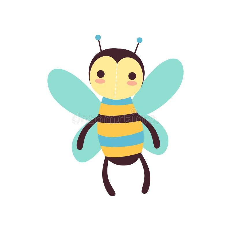 Het leuke grappige stuk speelgoed van de bijen zachte pluche, gevulde beeldverhaal dierlijke vectorillustratie stock illustratie