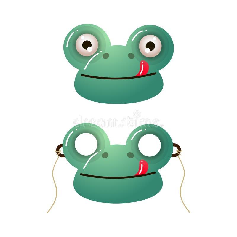 Het leuke groene masker van het kikkerjonge geitje met rode tong royalty-vrije illustratie