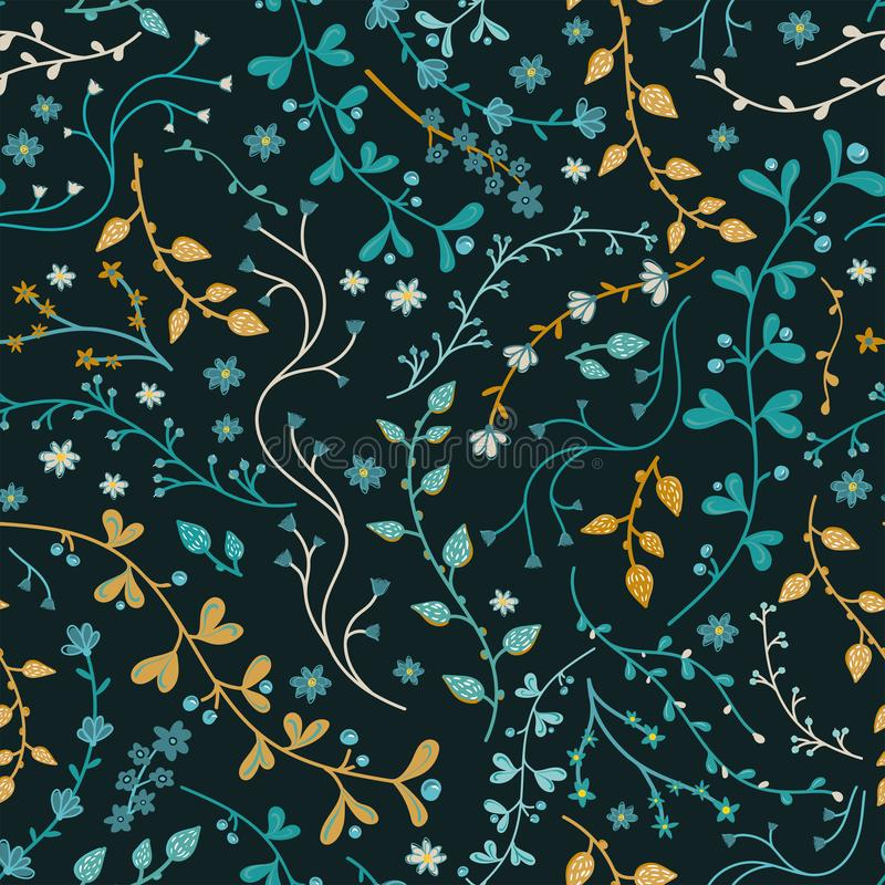 Het leuke hand getrokken bloemen naadloze patroon, pretschets vertakt zich en bloemenachtergrond - groot voor seizoengebonden de  vector illustratie