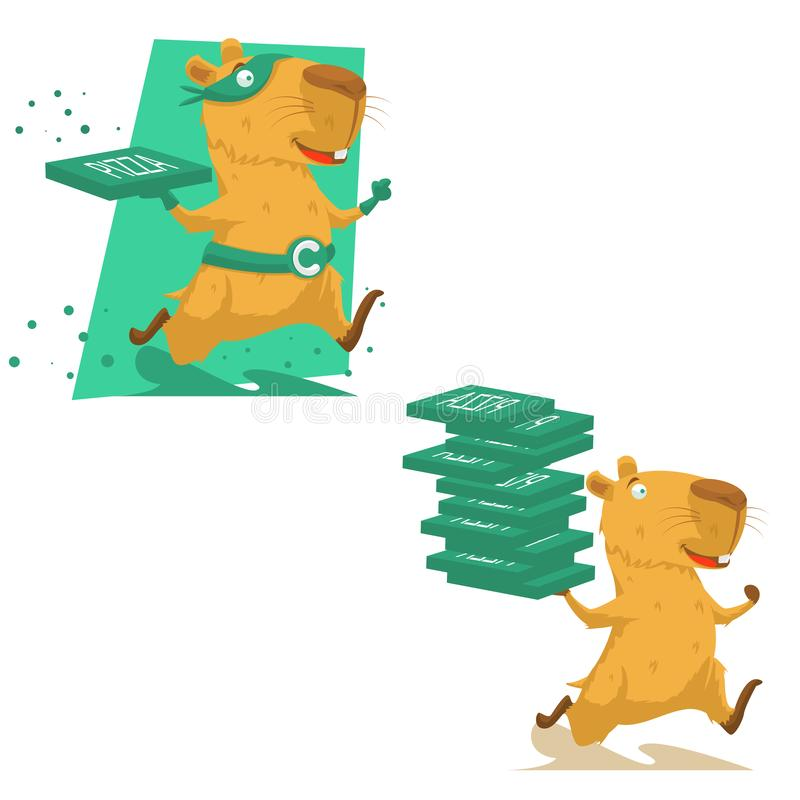 Het leuke hand getrokken capybara lopen royalty-vrije illustratie