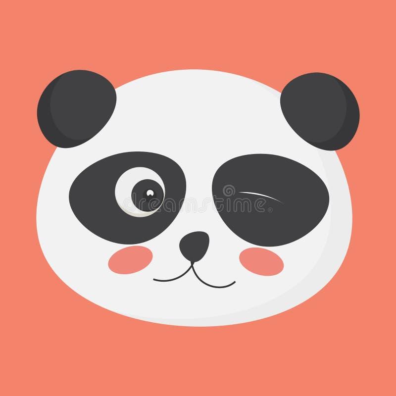 Het leuke het knipogen pandagezicht zou als het glimlachen emoji, emoticon, affiche, enz. kunnen worden gebruikt stock illustratie