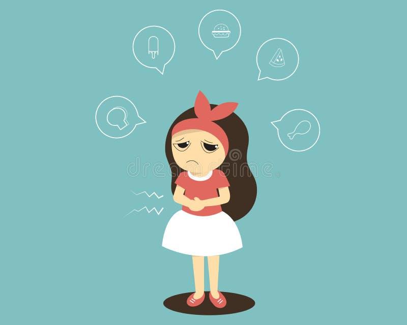 Het leuke hongerige beeldverhaalmeisje denken aan brood, roomijs, hamburger, watermeloen en kip stock illustratie