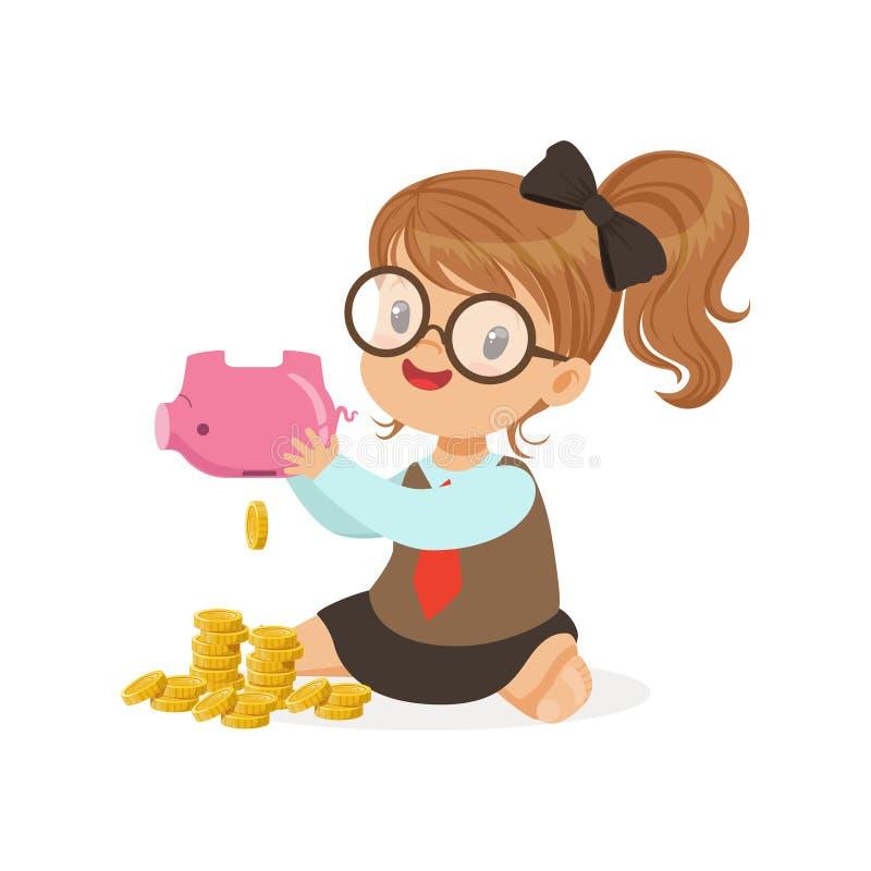 Het leuke hoogtepunt van het spaarvarken van de meisjeonderneemster schuddende van geld, jonge geitjesbesparingen en financiën, r royalty-vrije illustratie