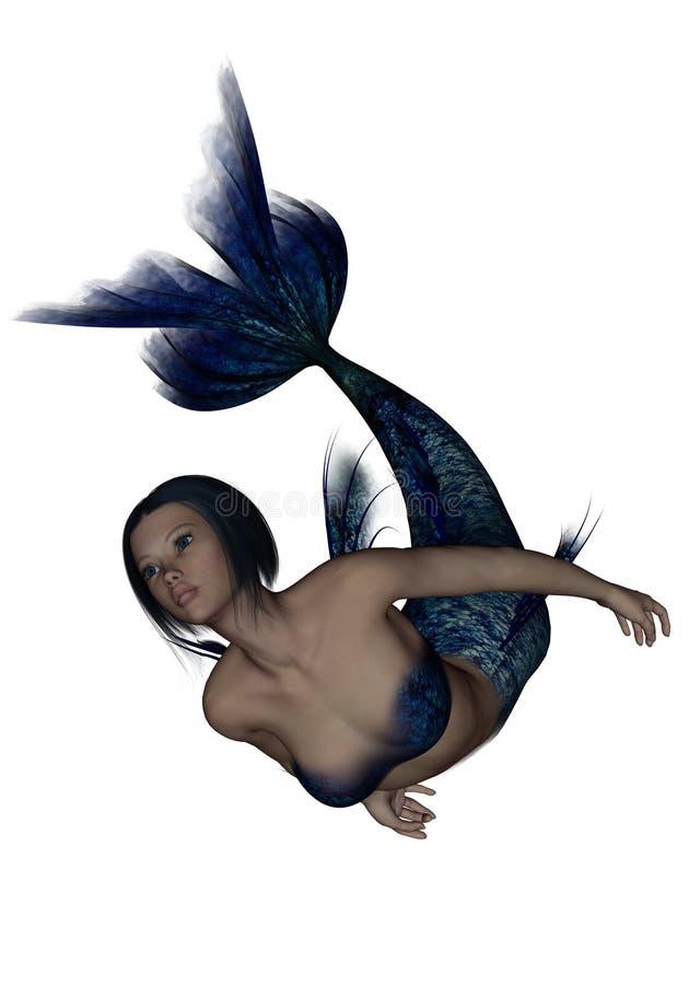 Het leuke jonge meermin zwemmen royalty-vrije illustratie