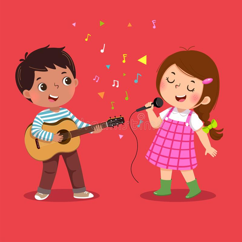 Het leuke jongen het spelen gitaar en meisje zingen op rode achtergrond royalty-vrije illustratie