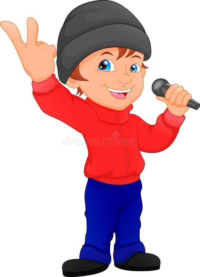 Het leuke jongen zingen stock illustratie
