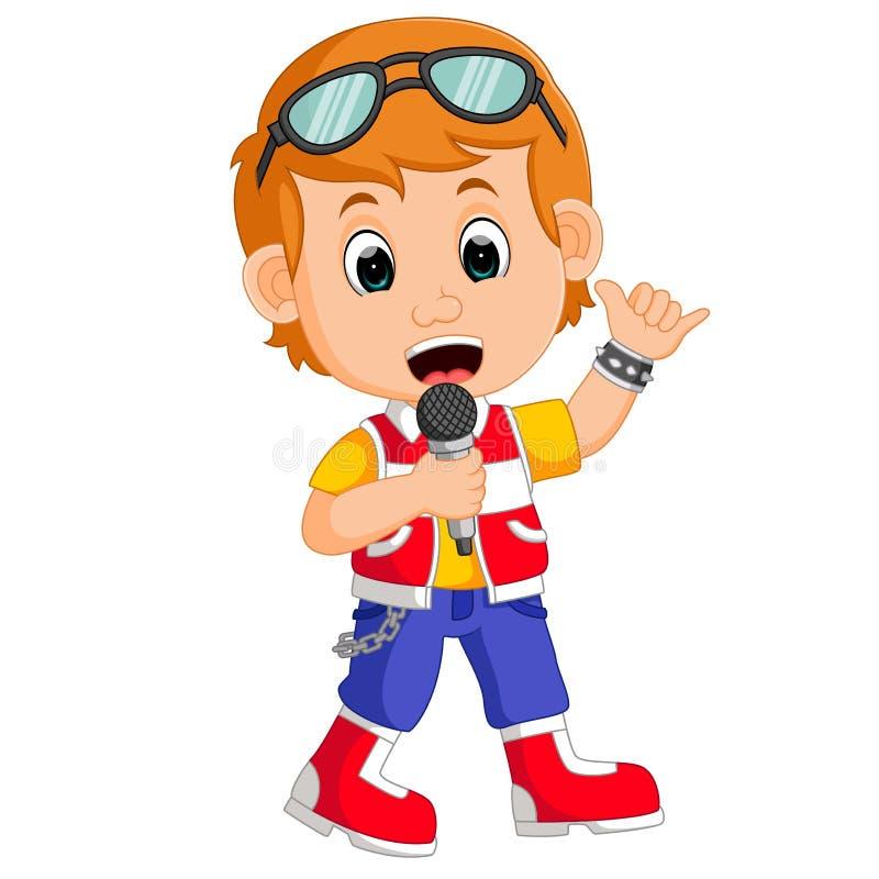 Het leuke jongen zingen vector illustratie