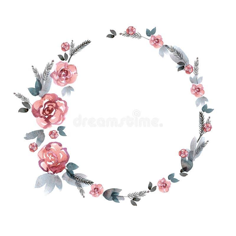 Het leuke kader van de waterverfbloem Achtergrond met roze rozen royalty-vrije illustratie