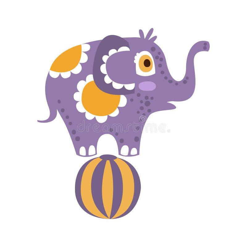 Het leuke karakter die van de beeldverhaalolifant zich op een bal vectorillustratie bevinden stock illustratie