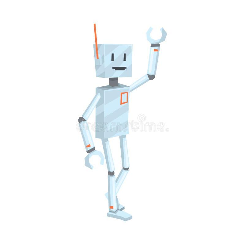 Het leuke karakter die van de beeldverhaalrobot de vectorillustratie van Hello golven vector illustratie