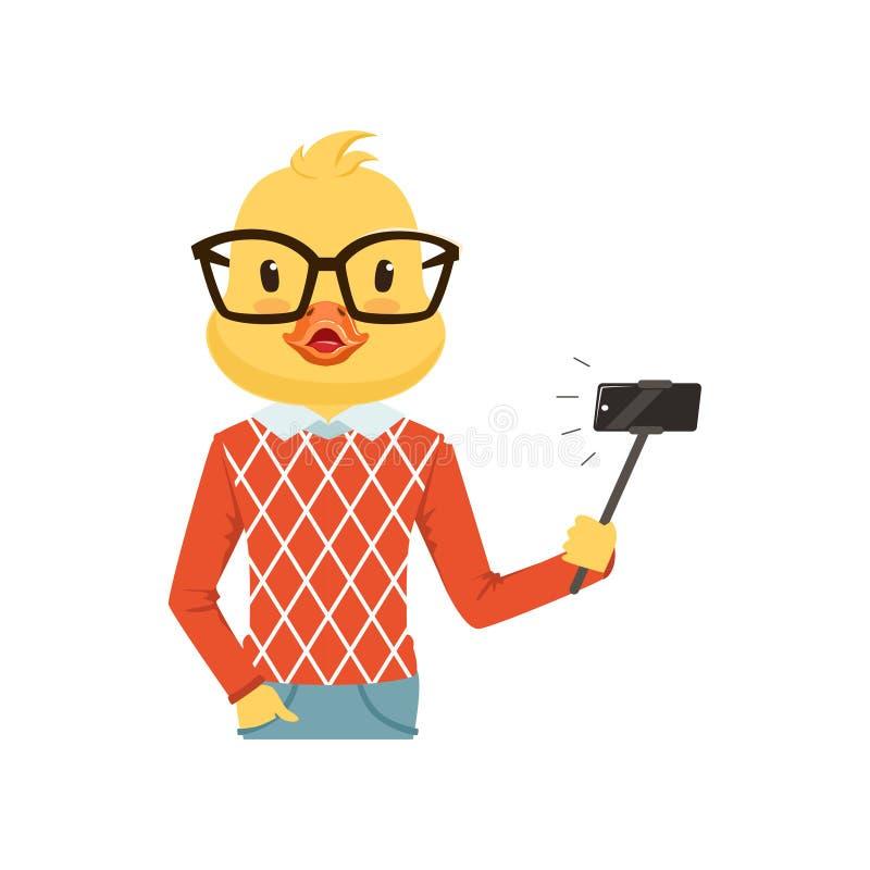 Het leuke karakter die van de het kuikenkerel van de maniereend selfie met selfiestok maken, hipster vogel vlakke vectorillustrat vector illustratie