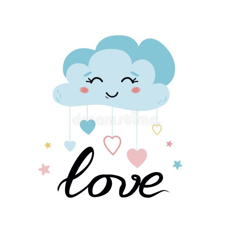 Het Leuke karakter die van het wolkenhart blauwe wolk voor de affichevector van de jonge geitjesruimte glimlachen royalty-vrije illustratie