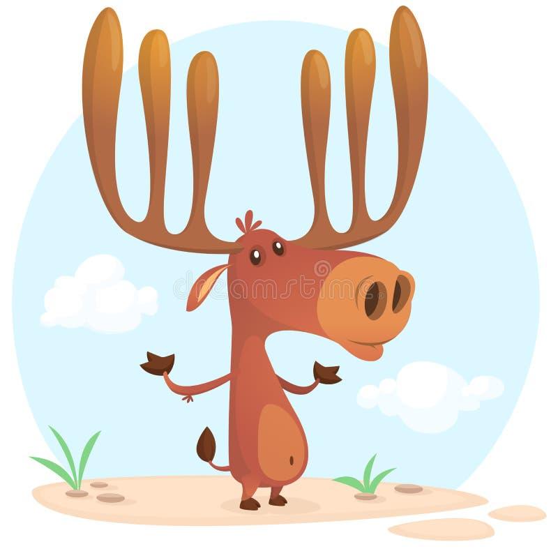 Het leuke karakter van beeldverhaalamerikaanse elanden Op witte achtergrond Vlakke ontwerp Vectorillu royalty-vrije illustratie