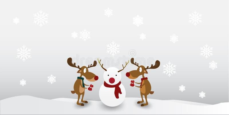 Het Leuke Karakter van het beeldverhaalrendier op de achtergrond van de de wintersneeuwvlok Groetkaart voor Vrolijke Kerstmis royalty-vrije illustratie