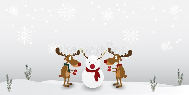 Het Leuke Karakter van het beeldverhaalrendier op de achtergrond van de de wintersneeuwvlok Groetkaart voor Vrolijke Kerstmis en  stock illustratie