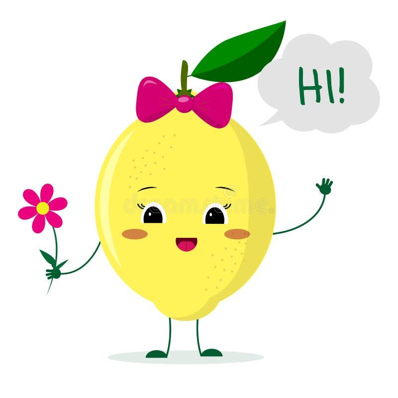 Het leuke karakter van het citroenbeeldverhaal met een roze boog die een bloem houden en heet welkom stock illustratie