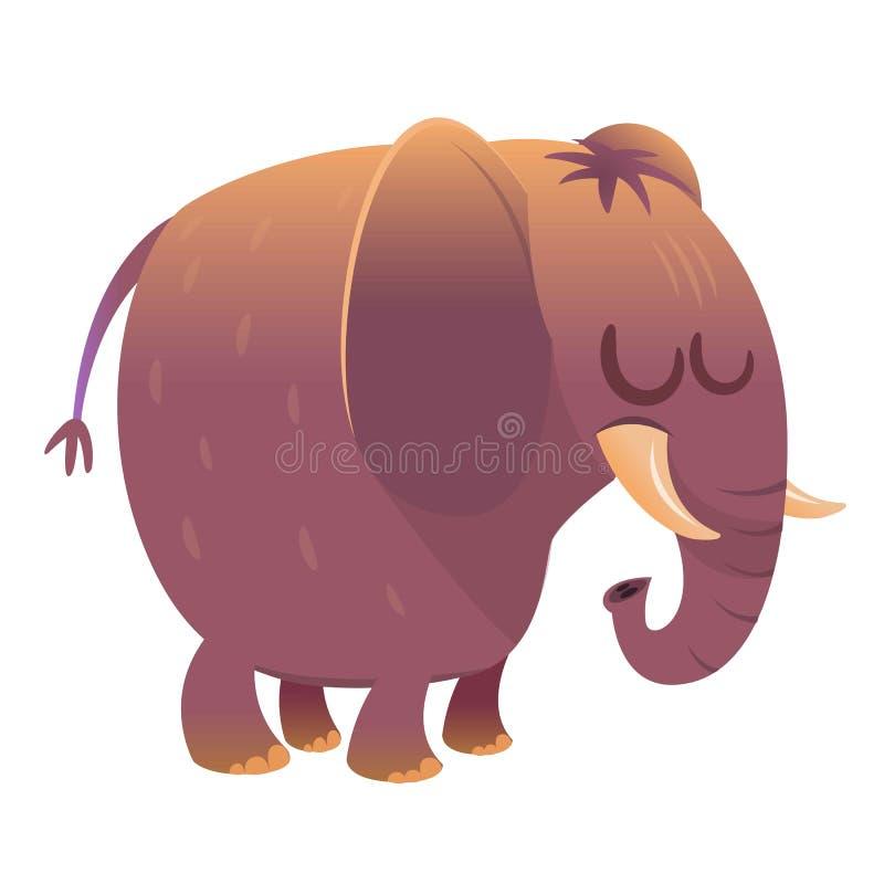 Het leuke karakter van de beeldverhaalolifant Wilde Dierlijke Inzameling Geïsoleerdee vectorillustratie stock illustratie