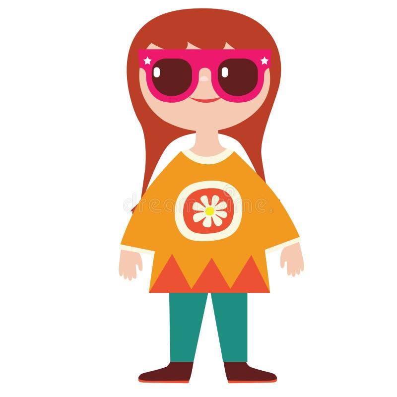 Het leuke karakter van de meisjeshippie vector illustratie