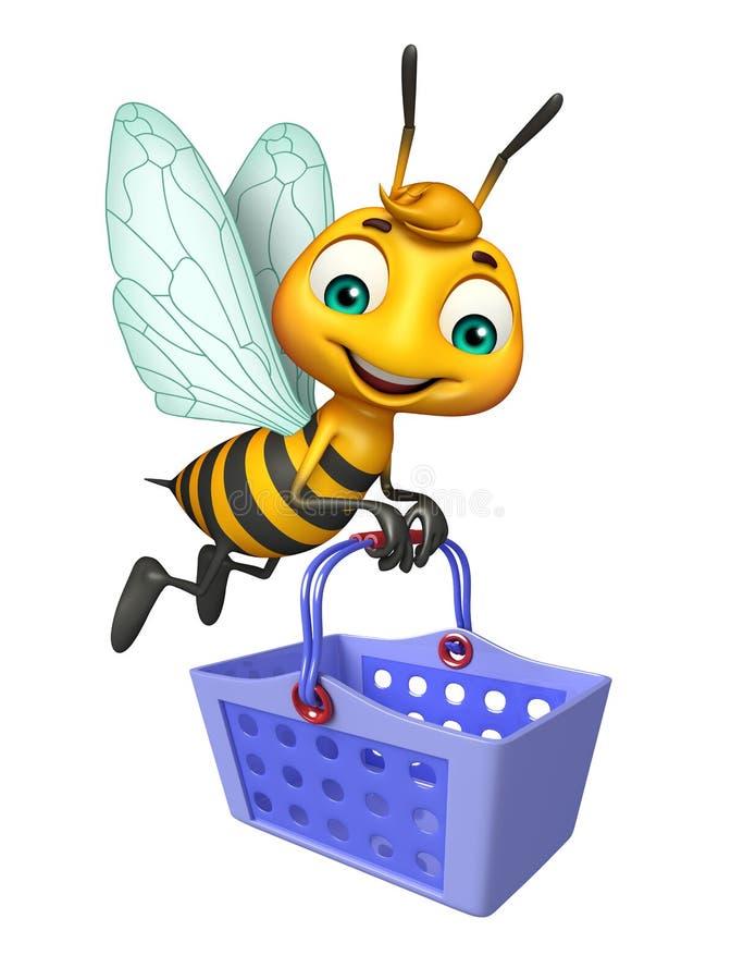 het leuke karakter van het Bijenbeeldverhaal met mand stock illustratie