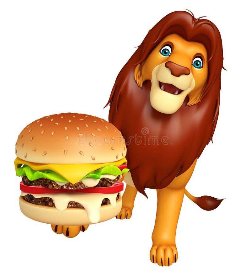 Het leuke karakter van het Leeuwbeeldverhaal met hamburger stock illustratie