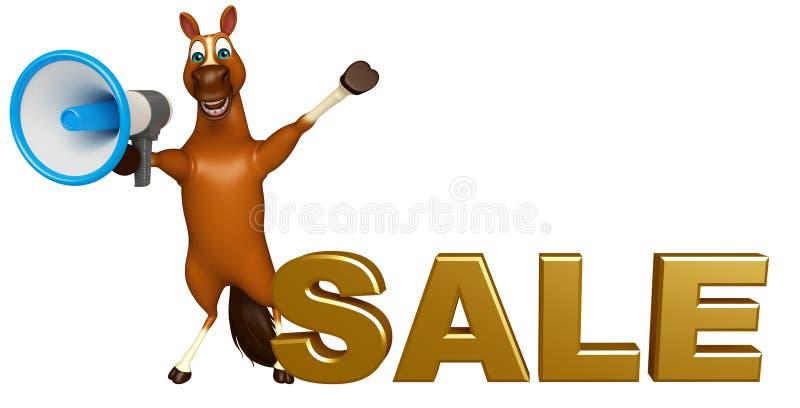 Het leuke karakter van het Paardbeeldverhaal met luid spreker en verkoopteken vector illustratie