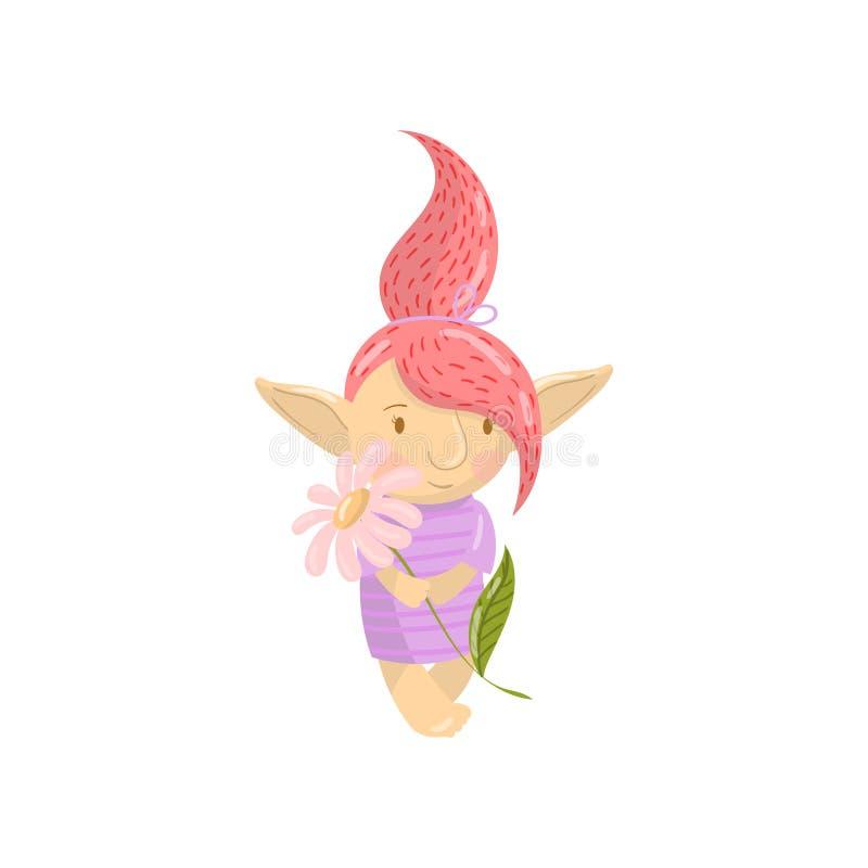 Het leuke karakter van het sleeplijnmeisje met kamillebloem, grappig schepsel met de gekleurde vectorillustratie van het haarbeel vector illustratie