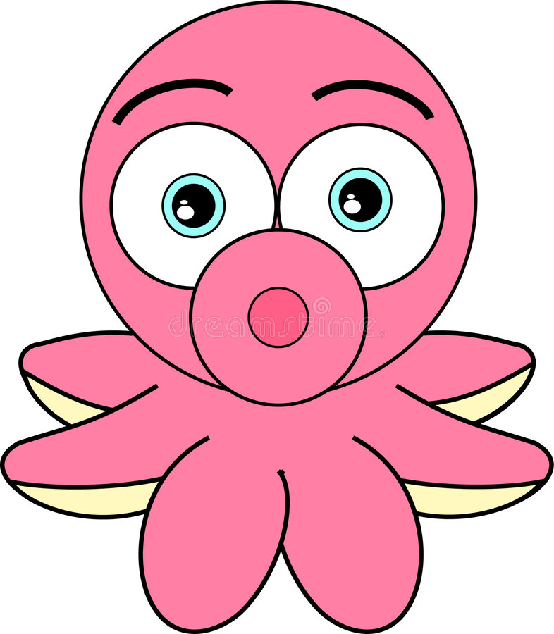 Het leuke Kijken de Octopus van het Beeldverhaal stock illustratie
