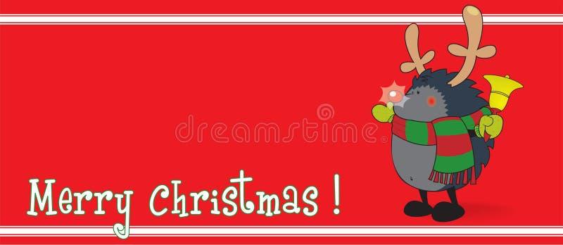 Het leuke kijken egel, gekleed als Rudolph het Rendier royalty-vrije illustratie