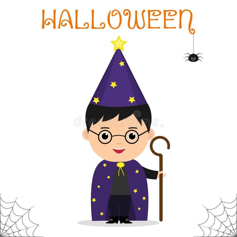 Het leuke kind kleedde zich in een kostuum van de astroloog mage met een personeel die die bij een Halloween-partij vieren op een royalty-vrije illustratie