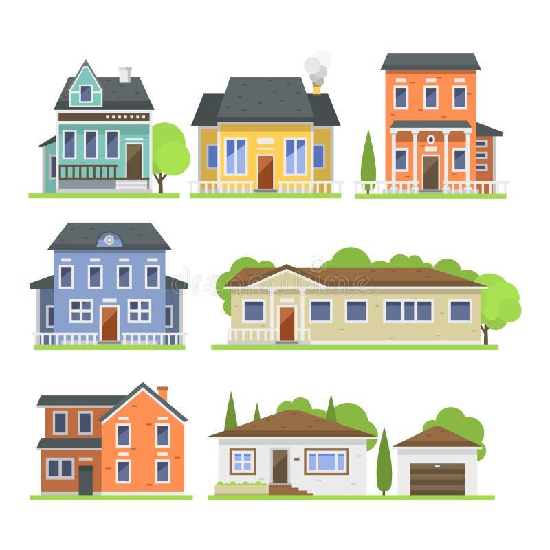 Het leuke kleurrijke vlakke van het het dorpssymbool van het stijlhuis de onroerende goederenplattelandshuisje en het huis ontwer stock illustratie