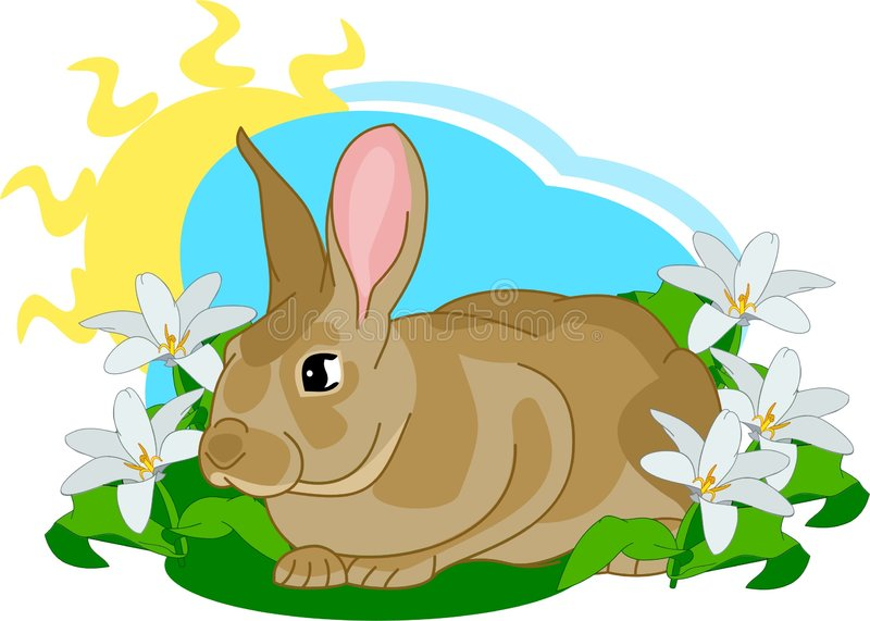 Het leuke konijntje zit stock illustratie