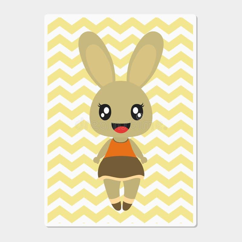 Het leuke konijntjesmeisje glimlacht op chevron achtergrond vectorbeeldverhaalillustratie voor de muur van het babykinderdagverbl stock fotografie